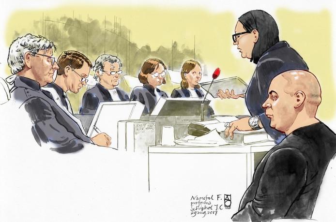 Advocaat meester Inez Weski en verdachte Naoufal F. (rechts), bijgenaamd Noffel.