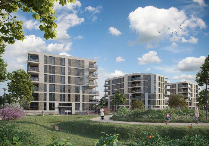 In het Santrijnpark in hartje Oosterhout moeten 72 appartementen verrijzen.