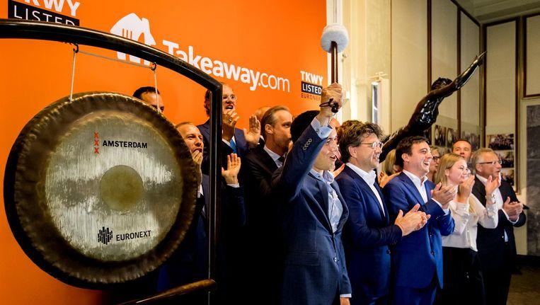 Het aandeel Takeway.com schoot vrijdag op het Damrak omhoog. Beeld anp