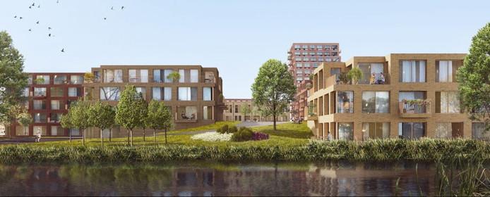 Afgelopen weekend tekende wethouder Hatte van der Woude de overeenkomst met ontwikkelaar Borghese, die er 351 energiezuinige woningen gaat neerzetten. Artist impression.