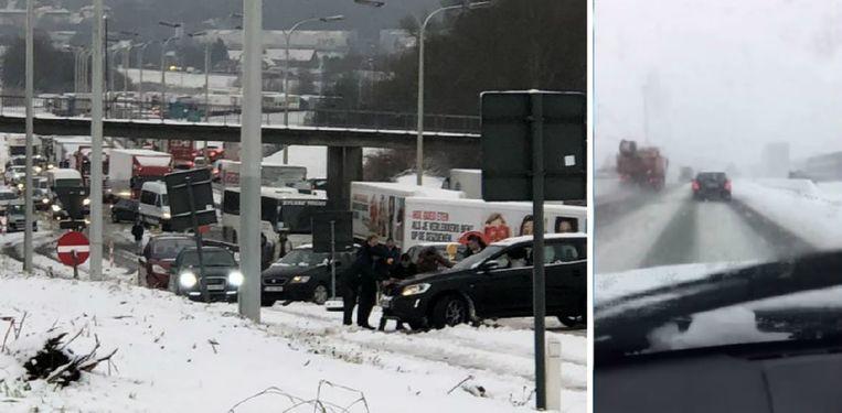Links: een ongeval in Asse. Rechts: een vrachtwagenbestuurder die links inhaalt.