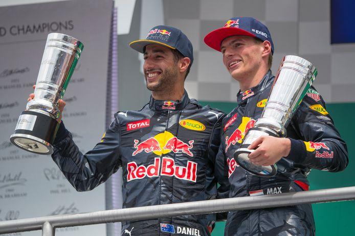 Daniel Ricciardo en Max Verstappen na de Grand Prix van Duitsland in 2016.
