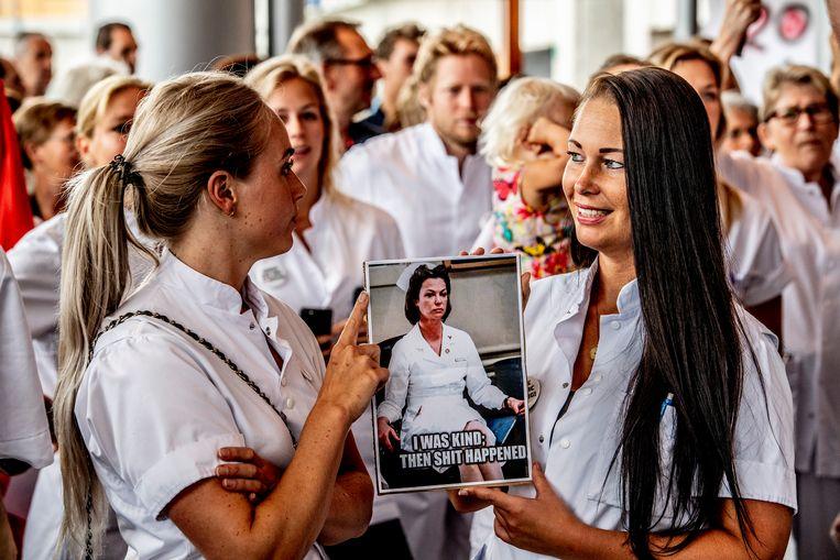Werknemers van het Leids Universitair Medisch Centrum (LUMC) hielden vorig jaar stiptheidsacties.  Beeld ANP