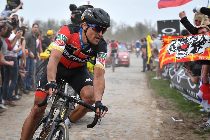 Greg Van Avermaet in actie tijdens 'Paris-Roubaix'.