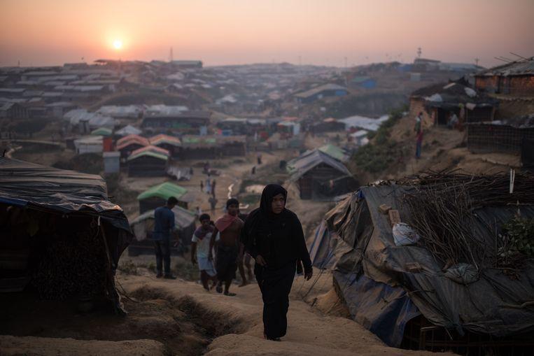 Vluchtelingenkamp voor Rohingya in Cox's Bazar.