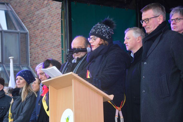 Burgemeester Tania De Jonge tijdens haar speech op de nieuwjaarsreceptie van vorig jaar in Ninove.