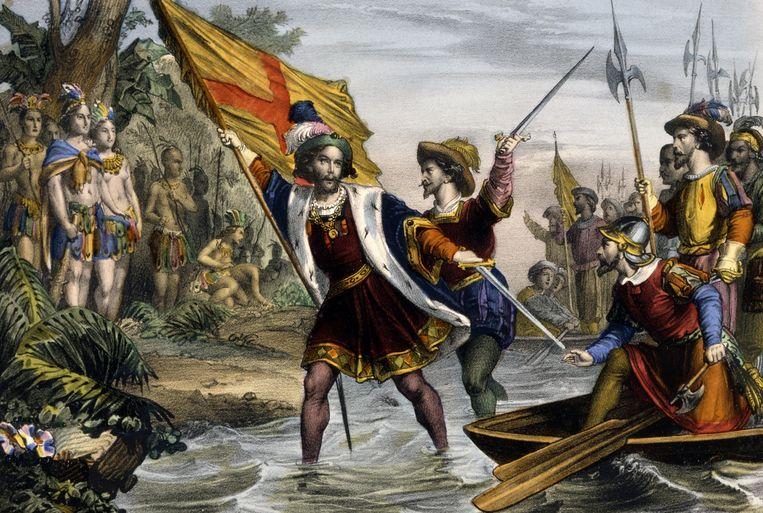 Christopher Columbus komt aan op de Bahama's. Beeld ullstein bild via Getty Images