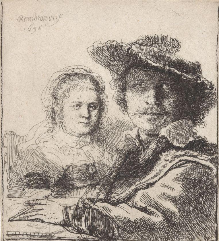 Rembrandt van Rijns zelfportret met Saskia uit 1629-1633, hangend in het Rijksmuseum, Amsterdam. Beeld