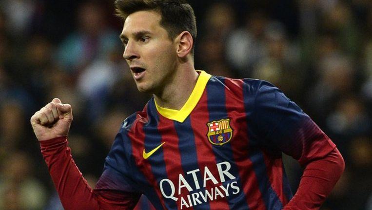 Qatar Airways op het FC Barcelona shirt van Messi. Beeld anp