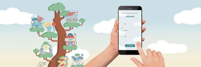 Voorbeeld van de app.