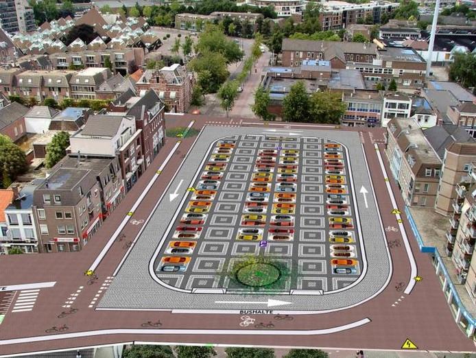 Een tekening van het toekomstige Ameideplein. De foto die de gemeente Helmond voor deze montage heeft gebruikt, is al enkele jaren oud.