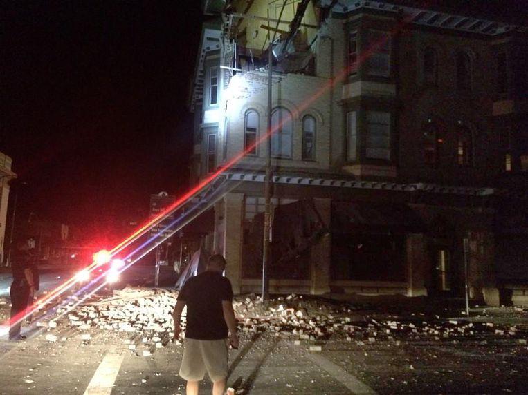 Schade aan een gebouw in Napa.