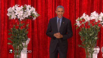 President Obama neemt Valentijnsboodschap op voor Michelle