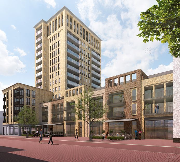 Doordat een flink deel van het gebouw zo'n zeven meter terug ligt van de straat, ontstaat in combinatie met die weg een plein.
