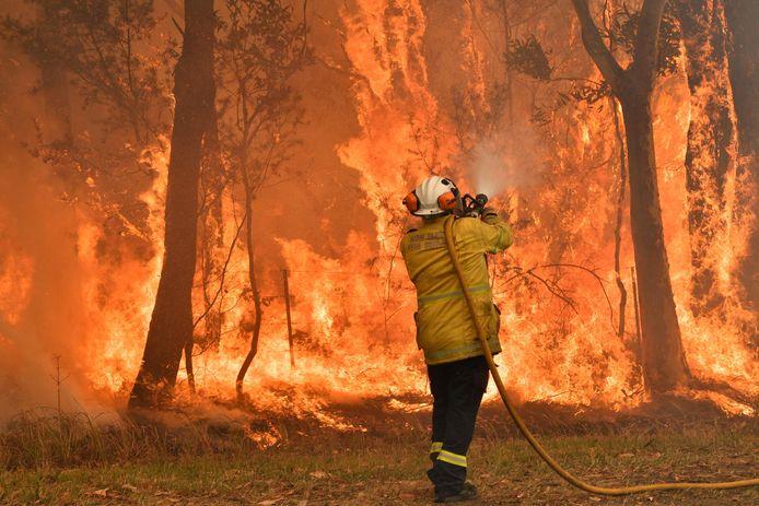 Un pompier luttant contre les flammes à une centaine de kilomètres de Sydney, le 10 décembre dernier.