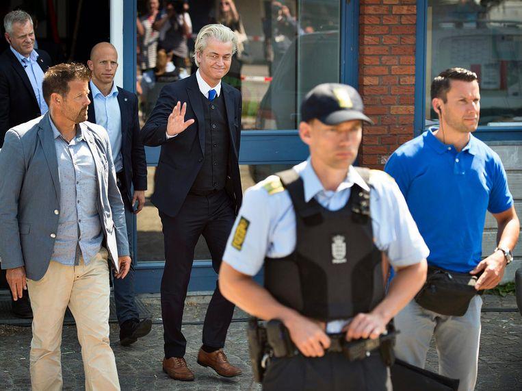 Geert Wilders tijdens zijn bezoek aan Folkemodet. Beeld anp