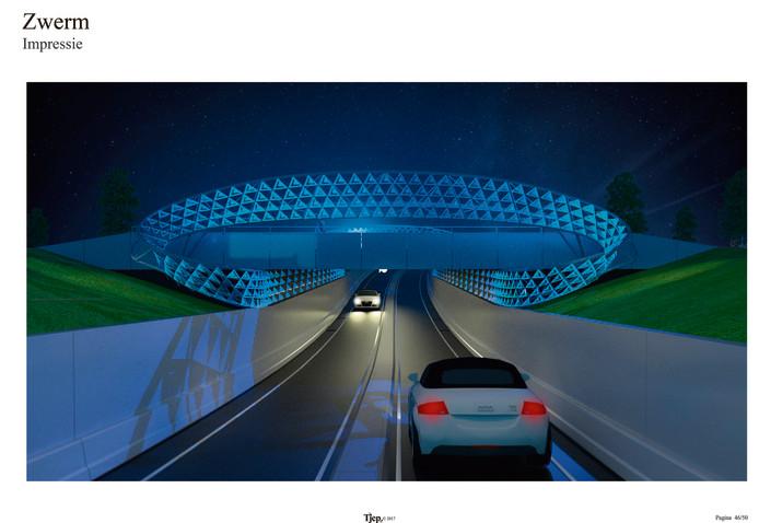 Een impressie van het lichtkunstwerk Zwerm dat wordt geplaatste boven de onderdoorgang van de Ring onder de Montgomerylaan in Eindhoven.