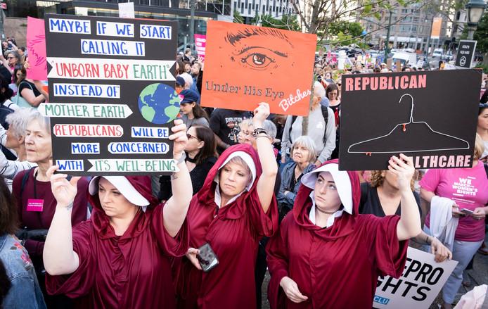 Een protest tegen de nieuwe abortuswet in Atlanta, Georgia