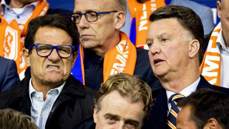 Louis van Gaal met de Italiaanse trainer Fabio Capello tijdens de wedstrijd Nederland Italië op 28 maart. Beeld epa