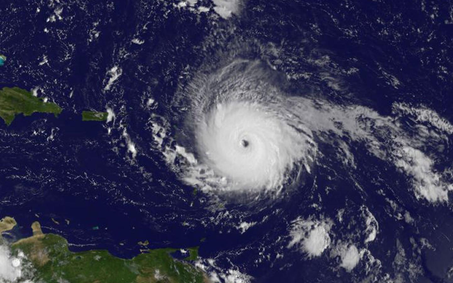 Orkaan Irma op weg naar het Caribisch gebied.