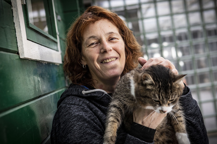 Rosita Pots met de kat Luna, die nog een baasje zoekt.