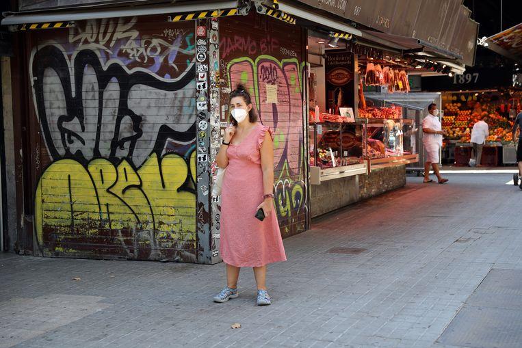 Normaal gesproken is het hier, op de Boqueriamarkt in Barcelona, enorm druk. Beeld NurPhoto via Getty Images