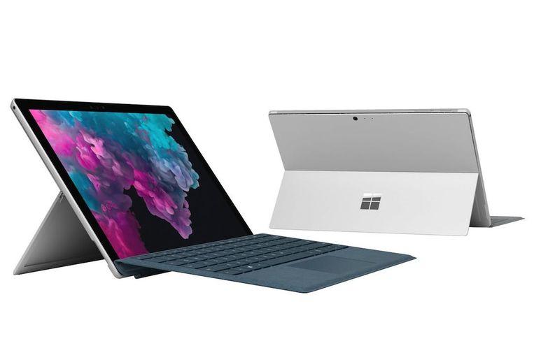 De recentste versie van Microsofts Surface-tablet, die met een extra toetsenbord ook gewoon een laptop wordt.