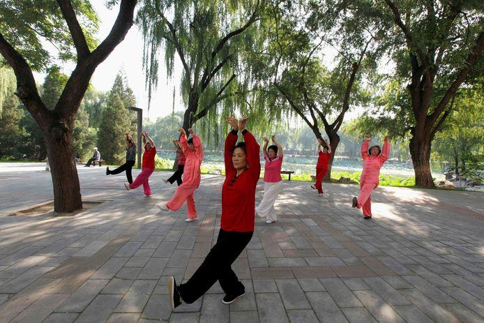 Exercices dans un parc de Pékin