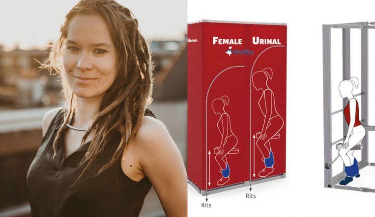 Ellen Lejeune ontwierp een urinoir speciaal voor vrouwen.