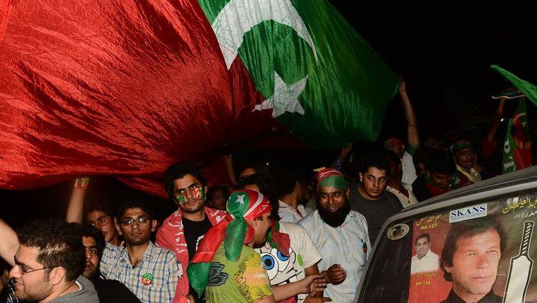 Bijeenkomst van supporters van Imran Khan. Beeld null