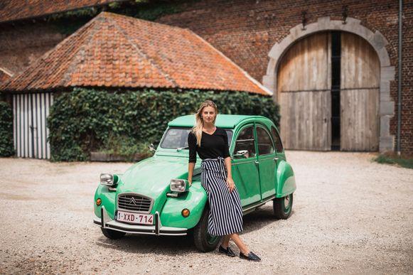 Michèle Engelen (23) aan een groen 'geitje'.