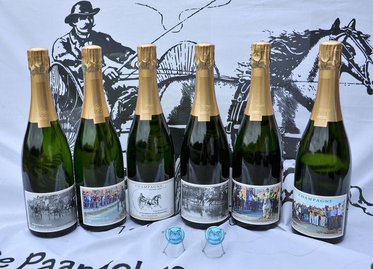 de zes verschillenden flessen champagne Winkel Koerse