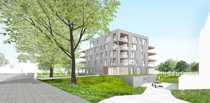 Een ontwerp van een van de twee gebouwen die moeten verrijzen op de plek van het sportfondsenbad.