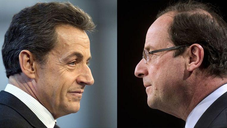 Nicolas Sarkozy en François Hollande Beeld afp