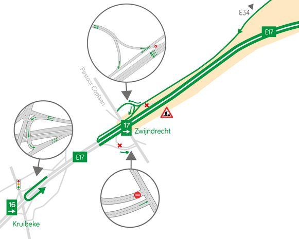 In plaats van de afrit Zwijndrecht te nemen, moet het verkeer binnenkort doorrijden tot aan de keerbrug, daar terugdraaien richting Antwerpen en dan de afrit Zwijndrecht richting Antwerpen nemen.