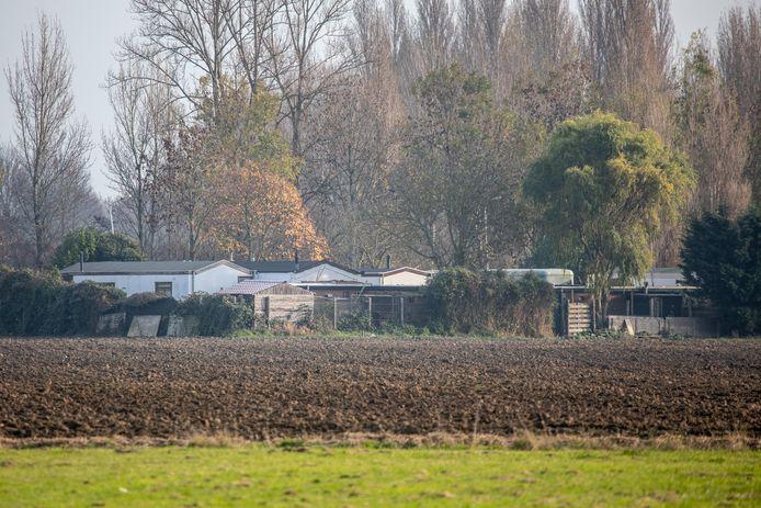 Zicht op het woonwagenkamp bij Tholen.