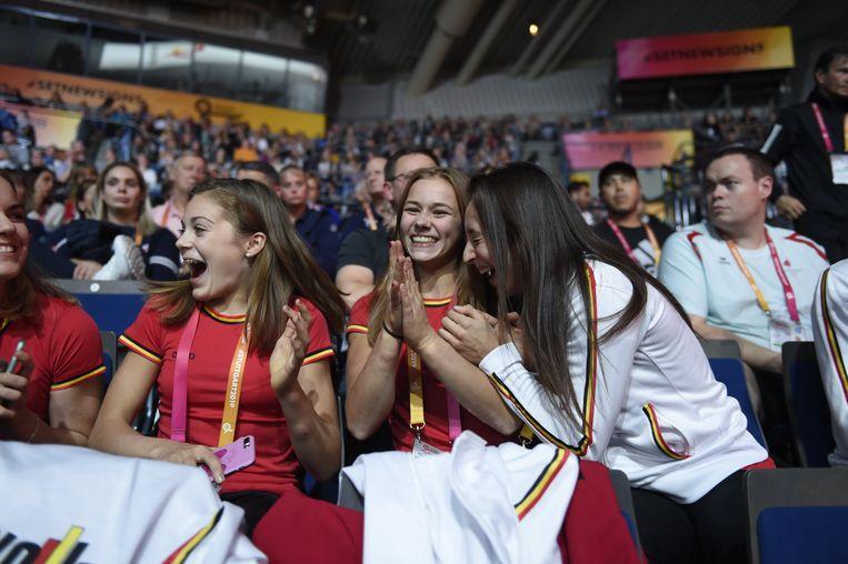 De ontlading bij Derwael en co was groot toen ze in de WK-zaal na de laatste subdivisies zekerheid kregen over de olympische kwalificatie.