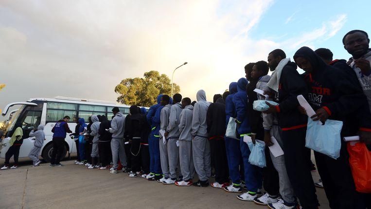 Afrikaanse vluchtelingen in de Libische hoofdstad Tripoli.