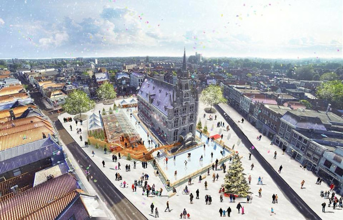 Ook dit jaar komt er weer een ijsbaan rond het Goudse stadhuis.