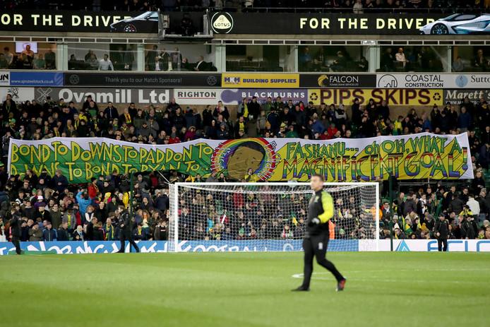 Het spandoek van de fans van Norwich City bij de wedstrijd tegen Liverpool (0-1 nederlaag) op 15 februari.