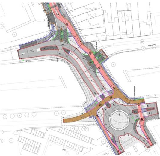De rotonde die bij de Zoomdam wordt aangelegd komt op de hoek Rijks/Zuidzijde Zoom. Vanaf de Halsterseweg, die een fietsstraat wordt, komt daar een dubbel fietspad op uit. De route voor doorgaand verkeer die links afdraait richting Boerenverdriet moet voor betere doorstroming zorgen.
