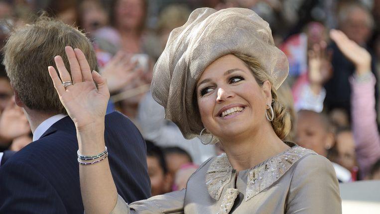 Koningin Máxima tijdens het provinciebezoek. Beeld anp