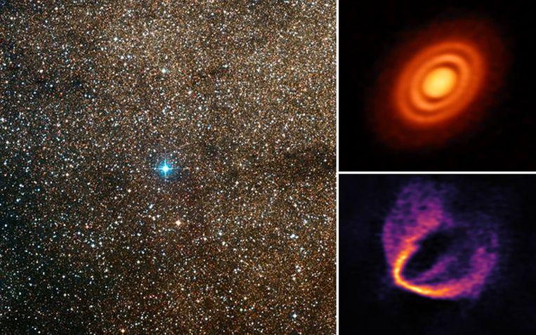 Rondom de de jonge ster HD 163296 (links) cirkelen drie planeten-in-wording. Ze worden beschouwd als de jongste planeten in onze melkweg.