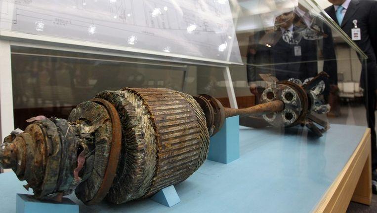 De resten van een torpedo die het schip Cheonan doorboorde. Foto EPA Beeld