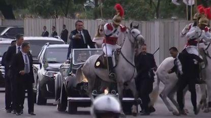 VIDEO. Schichtig paard verstoort parade met nieuwe president van Brazilië