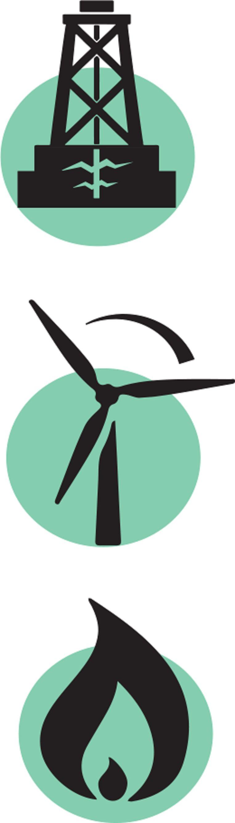 Illustratie van energielabels: schaliegas, windenergie en aardgas. Beeld Trouw