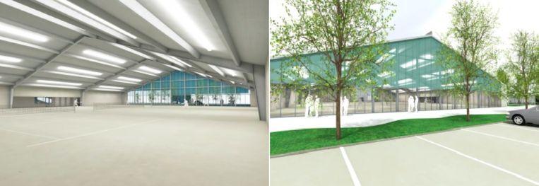 Een simulatiebeeld van de nieuwe tennishal.