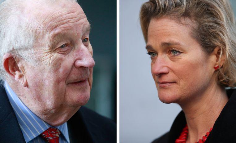 Links de voormalige Belgische koning Albert II en rechts zijn dochter Delphine Boël. Beeld EPA