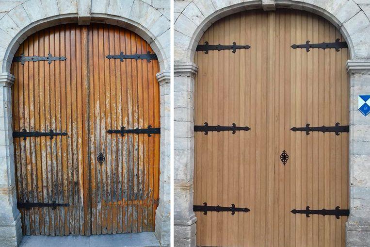 De kerkdeur van de Sint-Quirinuskerk in Bunsbeek ziet er een stuk beter uit na de restauratie.