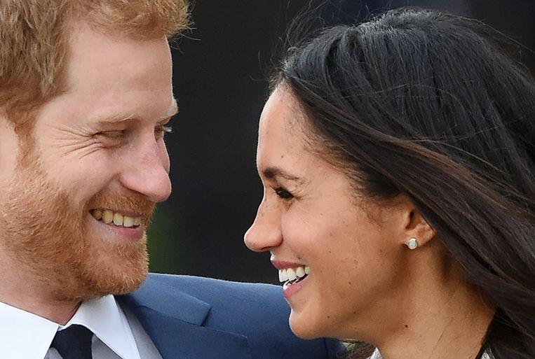Prins Harry met zijn verloofde Meghan Markle